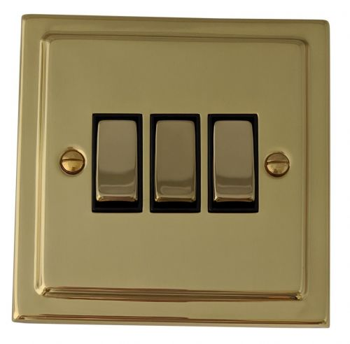 G&H TB303 Trimline Plate Polished Brass 3 Gang 1 or 2 Way Rocker Light Switch